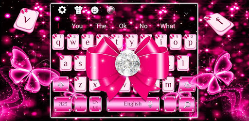 Luxury Diamond Pink Bow Keyboard Theme pc screenshot