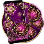 Purple Gold Butterfly Keyboard FOR PC