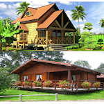 Design of wooden houses icon