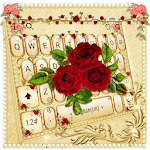 Luxurious Red Rose Golden Keyboard Theme icon