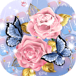 Pink Rose Blue Butterfly Keyboard Theme APK icon
