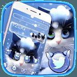 Cute Furry Snow Cat Theme icon
