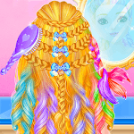 Rainbow Braided Hair Salon-Hairstyle By Number APK icon
