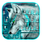 Cyan Neon Wolf Keyboard Theme APK icon