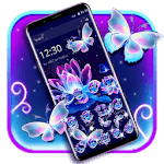 Neon Butterfly Lotus Glitter Theme icon