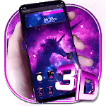 Galaxy Unicorn Glass Tech Theme APK icon