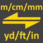 m, cm, mm to yard, feet, inch converter tool icon