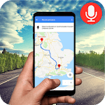 Voice GPS navigation, driving directions, map icon