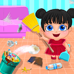 Little Girl Home Cleaning Messy House icon