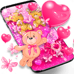 Teddy bear love hearts live wallpaper icon