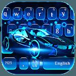 Neon Blue Sports Car Keyboard Theme icon