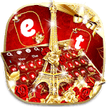 Gold Red Rose Eiffel Tower Keyboard icon