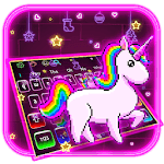 Neon Cartoon Rainbow Unicorn Keyboard icon