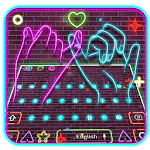 Neon Pink Sparkling Keyboard Theme for pc icon