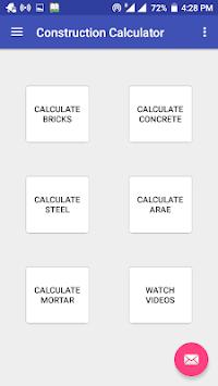 Construction Calculator(Concrete,Steel,Bricks etc) APK screenshot 1