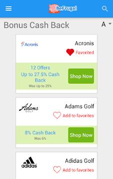 BeFrugal Cash Back & Coupons APK screenshot 1