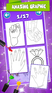 Nail Drawing Book Fashion Coloring Pages APK screenshot 1
