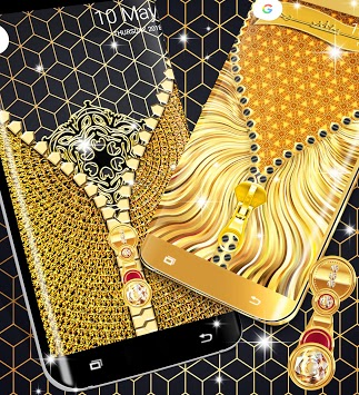 Gold lock screen APK screenshot 1