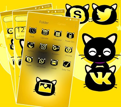 Black Cute Cat Theme APK screenshot 1