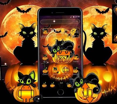 Black Halloween Cat Theme APK screenshot 1