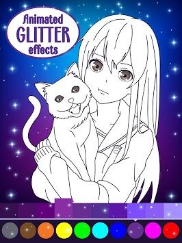 Animated Glitter Coloring Book - Anime Manga APK screenshot 1