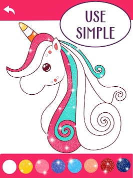 Animated Glitter Coloring Book - Unicorn APK screenshot 1