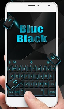 Blue Light Black Keyboard Theme APK screenshot 1