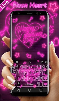 Live Neon Heart Keyboard Theme APK screenshot 1