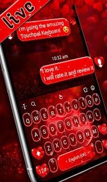 Live Red Romantic Heart Keyboard Theme APK screenshot 1