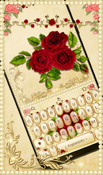 Luxurious Red Rose Golden Keyboard Theme APK screenshot 1