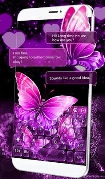 Neon Purple Butterfly Keyboard Theme APK screenshot 1
