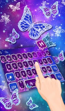Neon Sparkle Butterfly Keyboard Theme APK screenshot 1