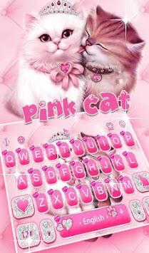 Cute Pink Lovely Cat Keyboard Theme APK screenshot 1