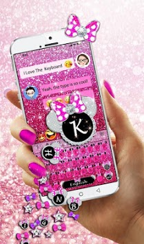 Pink Glitter Minny Keyboard Theme APK screenshot 1