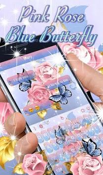 Pink Rose Blue Butterfly Keyboard Theme APK screenshot 1
