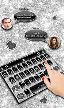 Black Silver Glitter Keyboard Theme APK screenshot 1