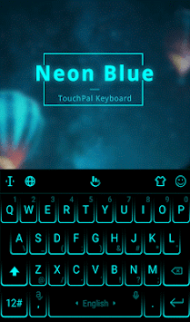 Simple Neon Blue Future Tech Keyboard Theme APK screenshot 1