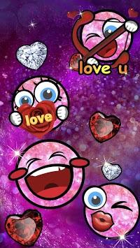 Valentine Pink Emoji Keyboard Sticker APK screenshot 1