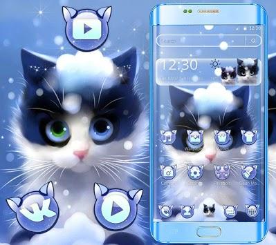 Cute Furry Snow Cat Theme APK screenshot 1