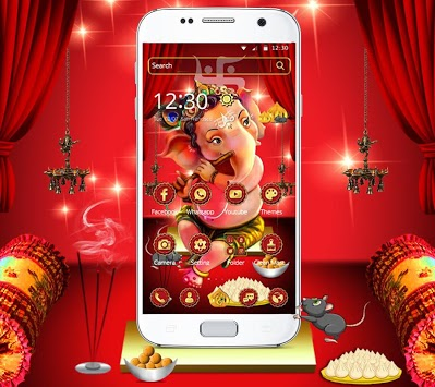 Red Cute Ganpati Bappa Theme APK screenshot 1