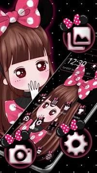 Cute Pink Girl Theme APK screenshot 1