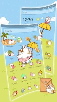 Cute Rabbit Cartoon Theme APK screenshot 1