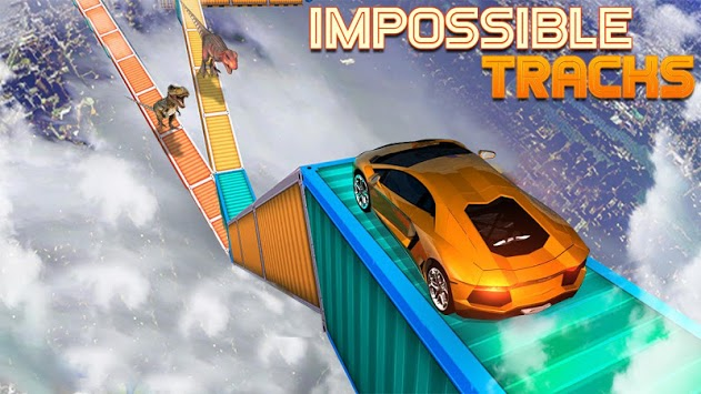 Dino car chase on impossible tracks new 2019 APK screenshot 1