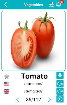 Vegetables and Fruits Vocabulary APK screenshot 1