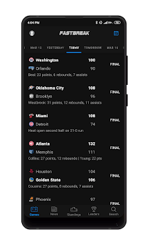 Fastbreak: Live NBA Score, Stats and Fantasy APK screenshot 1