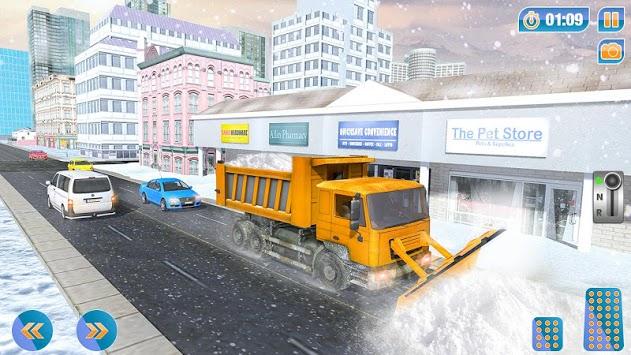 City Snow Blower Truck: Excavator Snow Plow Games APK screenshot 1