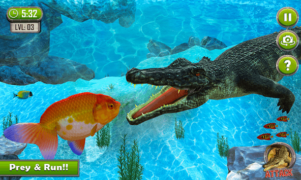 Crocodile Simulator : Animal attack Crocodile Game APK screenshot 1