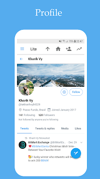 Lite & Fast for Twitter APK screenshot 1