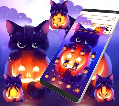 Dark Halloween Cat Theme APK screenshot 1