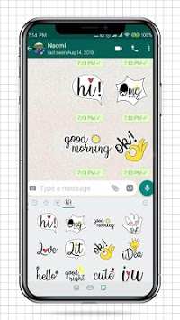 Cute Word Doodle Emoji Stickers APK screenshot 1